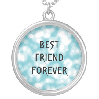 Melhores amigos azuis do brilho para sempre colar com pendente redondo