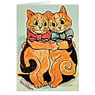 MELHORES AMIGOS - cartão dos gatos de Louis Wain
