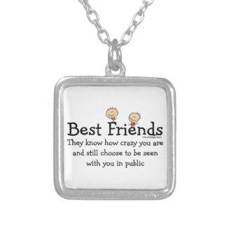 Melhores amigos colar com pendente quadrado