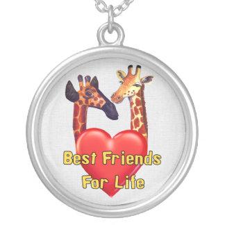 Melhores amigos colar com pendente redondo