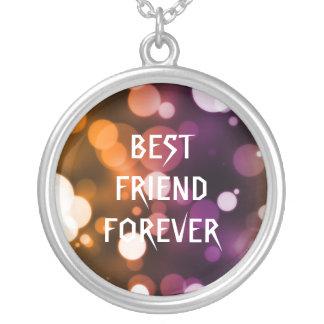 Melhores amigos das bolinhas do brilho do ouro colar com pendente redondo