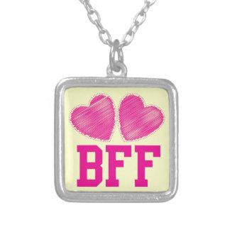 Melhores amigos de BFF para sempre com corações do Colar Com Pendente Quadrado