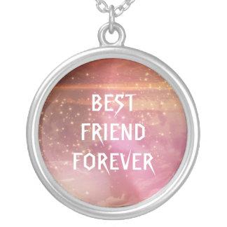 Melhores amigos do brilho do rosa da aguarela para colar com pendente redondo