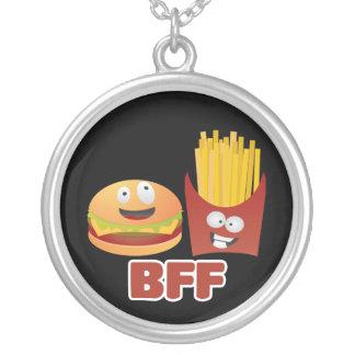 Melhores amigos do hamburguer e das fritadas para  colar banhado a prata