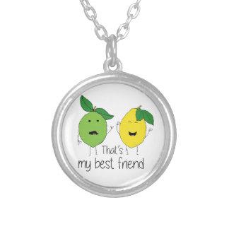 Melhores amigos do limão e do limão colar banhado a prata
