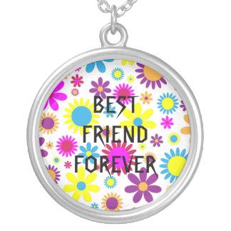 Melhores amigos florais coloridos para sempre colar com pendente redondo