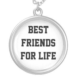 Melhores amigos para a vida colar com pendente redondo