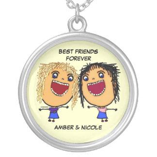 Melhores amigos para desenhos animados da vida colar banhado a prata