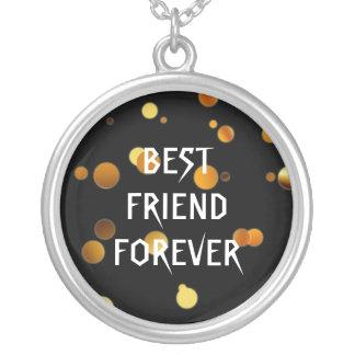 Melhores amigos pretos da folha do falso do brilho colar com pendente redondo