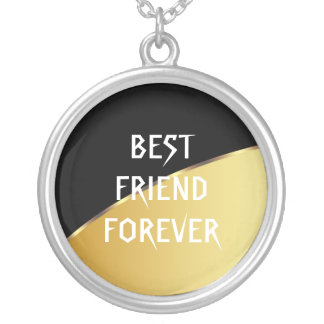 Melhores amigos pretos elegantes do metal do ouro colar com pendente redondo