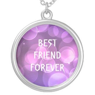 Melhores amigos roxos do brilho para sempre colar com pendente redondo