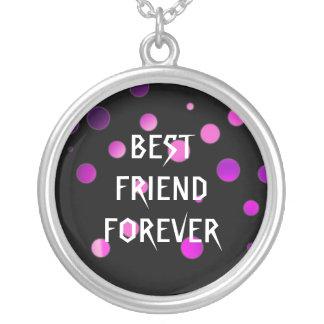 Melhores amigos roxos pretos da folha do brilho colar com pendente redondo