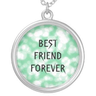 Melhores amigos verdes do brilho para sempre colar com pendente redondo