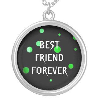 Melhores amigos verdes pretos da folha do falso do colar com pendente redondo