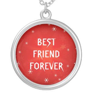 Melhores amigos vermelhos da estrela do brilho colar com pendente redondo
