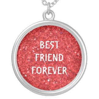 Melhores amigos vermelhos do brilho para sempre colar com pendente redondo