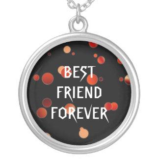 Melhores amigos vermelhos pretos da folha do falso colar com pendente redondo