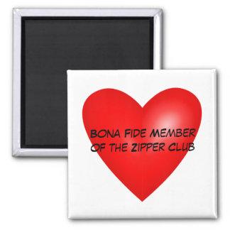 Membro genuíno do clube do Zipper Ímã Quadrado