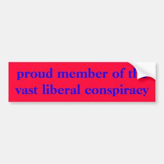 membro orgulhoso da conspiração liberal vasta adesivo para carro