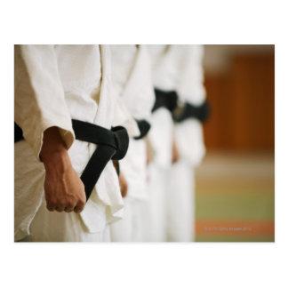 Membros de um Dojo do judo alinhado Cartão Postal