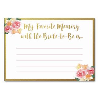 Memória favorita com os cartões da noiva