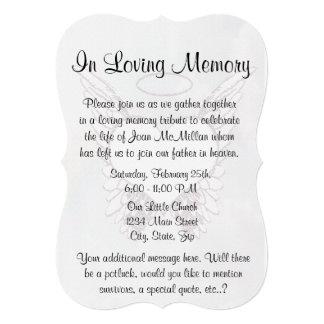 Memorial com asas e coração do anjo convites personalizados