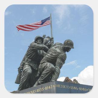 Memorial de Iwo Jima no Washington DC Adesivo Quadrado