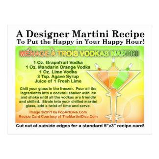 Menage um cartão da receita de Martini de vodcas