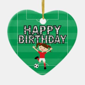 Menina 1 do aniversário do futebol vermelha e bran enfeite de natal