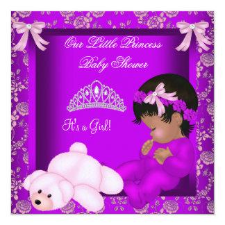 Menina 3 da princesa chá de fraldas do convite quadrado 13.35 x 13.35cm