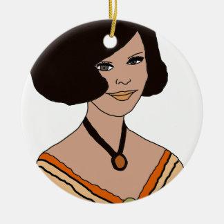 menina 60s na laranja ornamento de cerâmica redondo