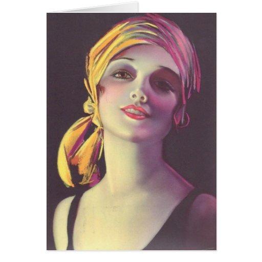 menina aciganada do encanto dos anos 30 cartão comemorativo