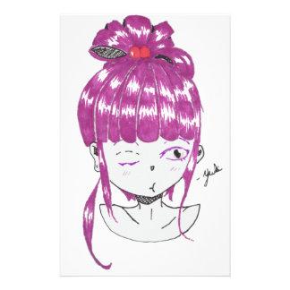 menina adolescente do cabelo cor-de-rosa do chibi papelaria