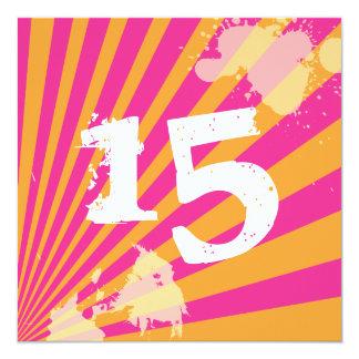 Menina adolescente do convite de aniversário | convite quadrado 13.35 x 13.35cm