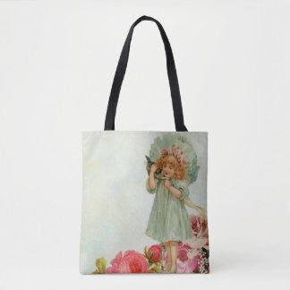 Menina adorável do vintage que guardara o bolsa