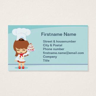 Menina bonito com bolo da morango cartão de visitas