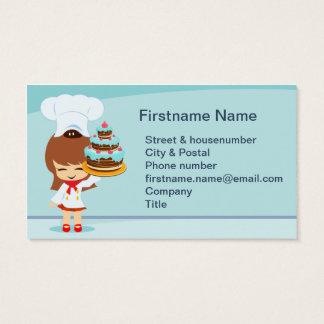 Menina bonito com bolo de chocolate cartão de visitas