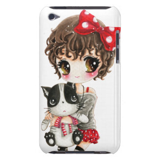 Menina bonito com o gato preto do kawaii capa para iPod touch