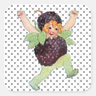 Menina bonito de Blackberry do vintage Adesivo Quadrado