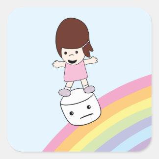Menina bonito de Kawaii na etiqueta do Marshmallow