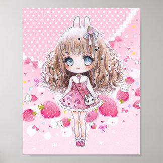 Menina bonito do chibi com morangos do kawaii poster