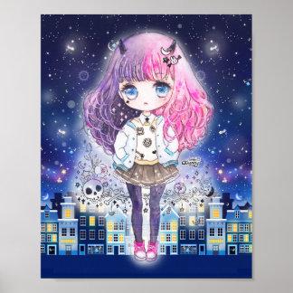Menina bonito do chibi em uma cidade das estrelas pôster