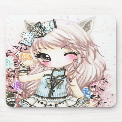 Menina bonito do gato no estilo do lolita mousepad