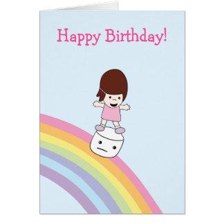 Menina bonito no cartão de aniversário do
