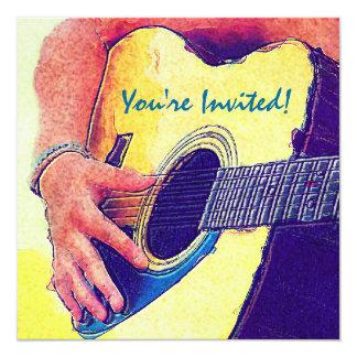Menina bonito no vestido com guitarra do país convites personalizado