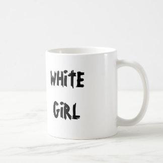 Menina branca caneca de café