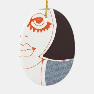 Menina C Ornamento De Cerâmica Oval