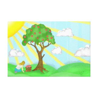 Menina & canvas do prêmio da árvore de Apple