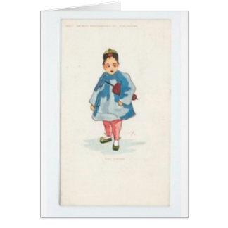 Menina chinesa pequena que guardara o guarda-chuva cartão
