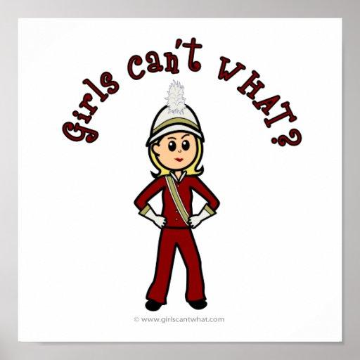 Menina clara no uniforme vermelho da banda pôsteres